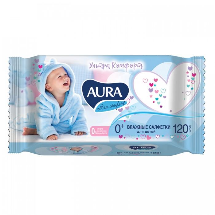 Салфетки Aura Влажные салфетки с крышкой для детей Ultra Comfort с экстрактом алоэ и витамином Е 120 шт. салфетки paterra влажные салфетки с экстрактом ромашки и витамином е 64 шт