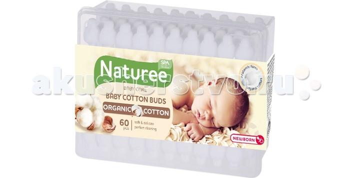 Уход за малышом SPA Cotton Ватные палочки для детей Naturee с ограничителем 60 шт.