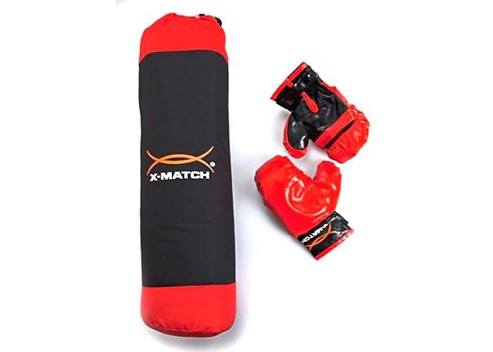 X-Match Набор для Бокса Д-180 мм Н-600 ммНабор для Бокса Д-180 мм Н-600 ммX-Match Набор для Бокса Д-180мм Н-600мм настоящий боксерский набор для юного начинающего спортсмена.   Набор включает в себя боксерскую грушу, а также прочные перчатки. Набор выполнен в черно-красном цвете. Перчатка фиксируется на запястье при помощи ремня на липучке. Груша снабжена текстильной ручкой-петлей для подвешивания. Верхняя часть груши шире нижней. Застежка-молния позволяет извлечь наполнение груши.   Данный набор является блестящей находкой для маленького бойца и позволит ему всегда находиться в хорошей физической форме.<br>