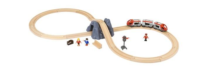 Brio Железная дорога: стартовый наборЖелезные дороги<br>Brio Железная дорога: стартовый набор. В состав набора деревянной железной дороги входит железнодорожное полотно - конфигурация восьмёрка, в центре которой располагается гора с тоннелем. Пассажирский железнодорожный состав, состоящий из трёх вагонов, необходимо катать руками.   В головные вагоны и центральный вагончик можно сажать пассажиров. У фигурок пассажиров сгибаются ручки и ножки, а также вращается голова.   Набор деревянной железной дороги включает в себя 26 элементов.