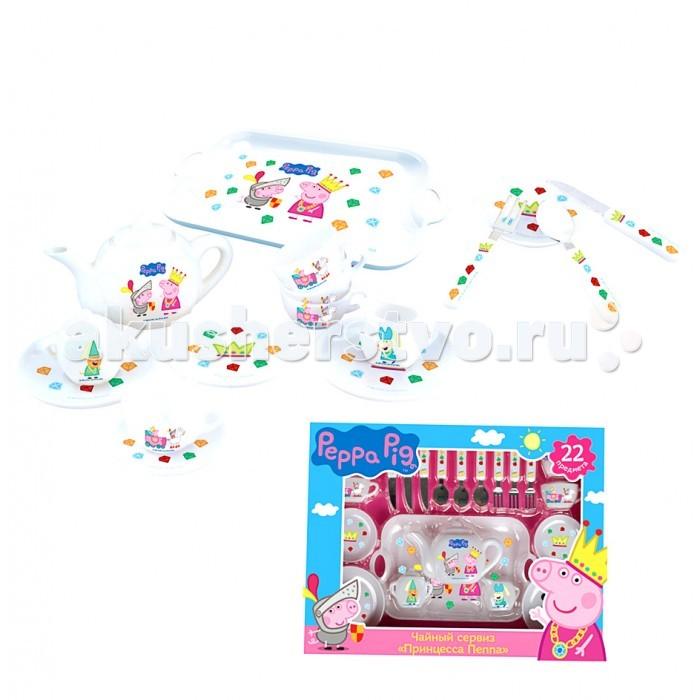 Ролевые игры Свинка Пеппа (Peppa Pig) Набор посуды Принцесса Пеппа 22 предмета пазл origami peppa pig транспорт 4 в 1
