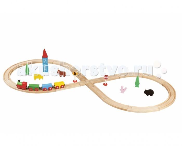 Balbi Железная дорога WT-052 (32 детали)Железная дорога WT-052 (32 детали)Balbi Железная дорога WT-052 (32 детали). Игровой набор Железная Дорога для детей от 3-х лет. Набор изготовлен из дерева твердых пород, без химической обработки. Качественная обработка всех деталей набора и окраска натуральными красками обеспечивает безопасность для детей.   Вагоны паровозика легко соединяются с помощью магнита и без трудов входят в любой поворот. А дополнительные детали, такие как деревья, звери и знаки - помогут ребенку создать целый маленький мир.   В данном наборе 32 элементов: 1 паровоз, 3 вагона, 17 секций железной дороги, 1 здание, 2 дорожных знака, 4 фигурки животных, 2 фигурки деревьев.<br>