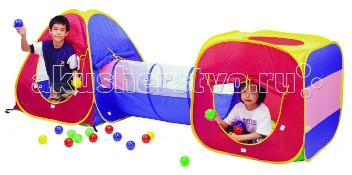 Calida Дом-палатка + 100 шаров (конус+квадрат+туннель)Дом-палатка + 100 шаров (конус+квадрат+туннель)Игровой набор в виде палаточного городка Calida. Состоит из двух домиков, соединенных между собой тоннелем. Замечательный набор на самораскладывающемся каркасе-спирали - отличное место для самостоятельной или групповой сюжетно-ролевой игры. На рассыпанных по палатке шариках приятно полежать, расслабившись, или с удовольствием в них побарахтаться.  Особенности:  размеры домика (см): 90х90х95 размеры треугольного домика (см):80x80x80 размер тоннеля (см): 48х110 материал: домик - нейлон, мячики - пластмасса в комплекте: 100 шаров (синие, желтые, зеленые, красные)<br>