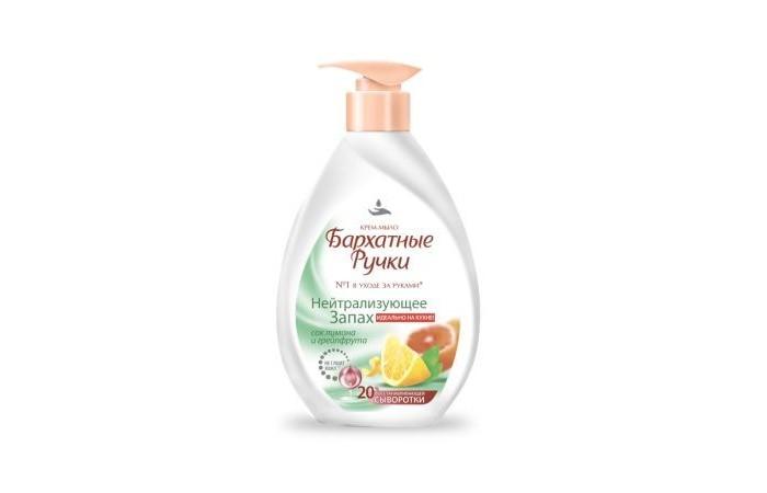 Косметика для мамы Бархатные ручки Крем-мыло Нейтрализующее запах 240 мл косметика для мамы palmolive жидкое мыло нейтрализующее запах 300 мл