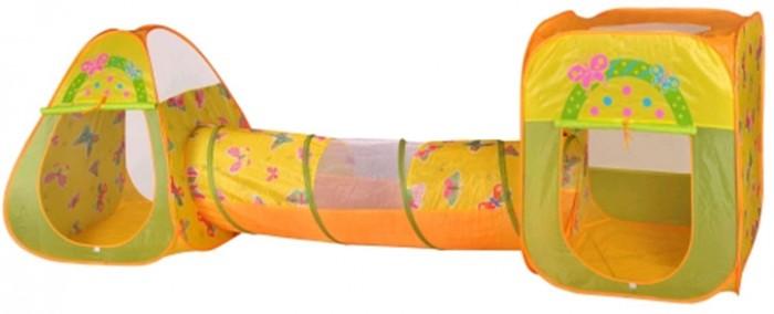 BabyOne Игровая палатка Бабочки с туннелем CBH-24 + 100 шаровИгровая палатка Бабочки с туннелем CBH-24 + 100 шаровИгровая палатка BabyOne, состоит из двух палаток, квадратной и треугольной формы, соединенная туннелем. В комплекте 100 разноцветных шаров. Так просто подарить ребенку радость, палатка увлечет детей занимательной игрой. В каждой из палаток есть закрывающаяся дверь.   Особенности: материал: нейлон размеры: палатки 85х85х100 см, туннель 48х180 см вес: 3 кг в комплекте 100 разноцветных шаров<br>