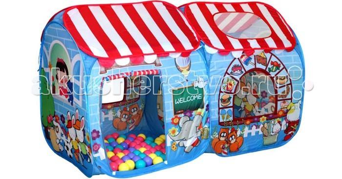 BabyOne Игровая палатка Детский магазин СВН-15 + 100 шаровИгровая палатка Детский магазин СВН-15 + 100 шаровИгровая палатка BabyOne Детский магазин - это комплекс из двух палаток, соединенных вместе.Веселые зверята, нарисованные на палатке, приглашают малыша внутрь. На палатке можно увидеть слоника, белочек, зайчиков - целый зоопарк, который будет принадлежать ребенку вместе с палатками.  Особенности: материал: нейлон размеры: 130х70х80 см вес: 1,2 кг в комплекте 100 разноцветных шаров<br>