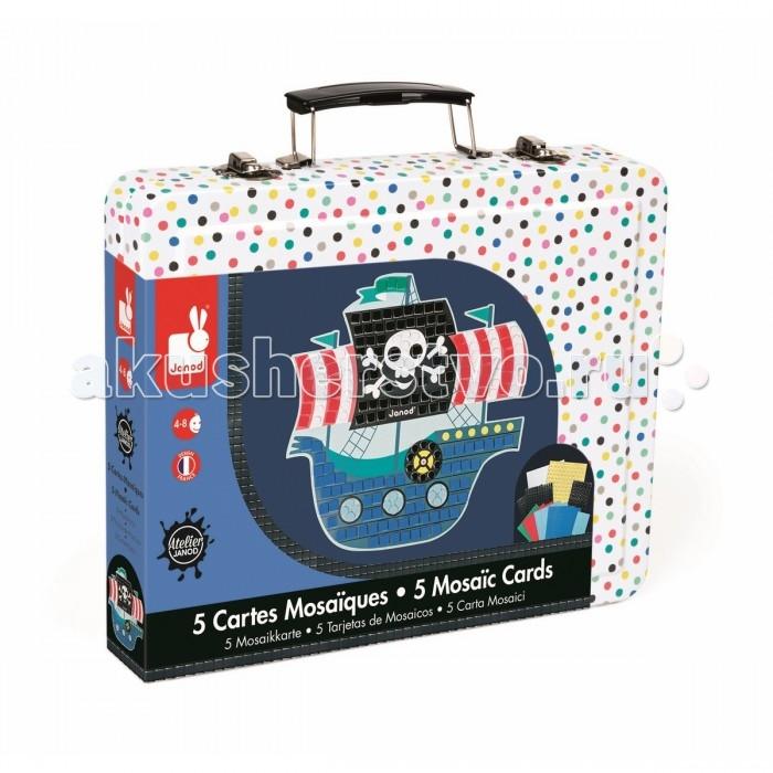 Janod Набор для творчества мозайка Пираты 5 карточекНабор для творчества мозайка Пираты 5 карточекНабор для творчества: мозаика Пираты, 5 карточек 5 пронумерованных цветных заготовок - картинок, 4 листа цветных квадратных наклеек «мозаика» (7x7 мм.), 2 листа цветных круглых наклеек «мозайка» (&#216; 5 мм.), 1 лист цветных, блестящих, квадратных наклеек «мозаика» (7x7 мм.), 2 листа цветных, блестящих круглых наклеек «мозайка» (&#216; 5 мм.), 1 удобный чемоданчик для хранения. Цветной буклет - инструкция на русском языке входит в состав всех наборов для творчества.  Материал: карточки - бумага с липким слоем, чемоданчик-металл.<br>