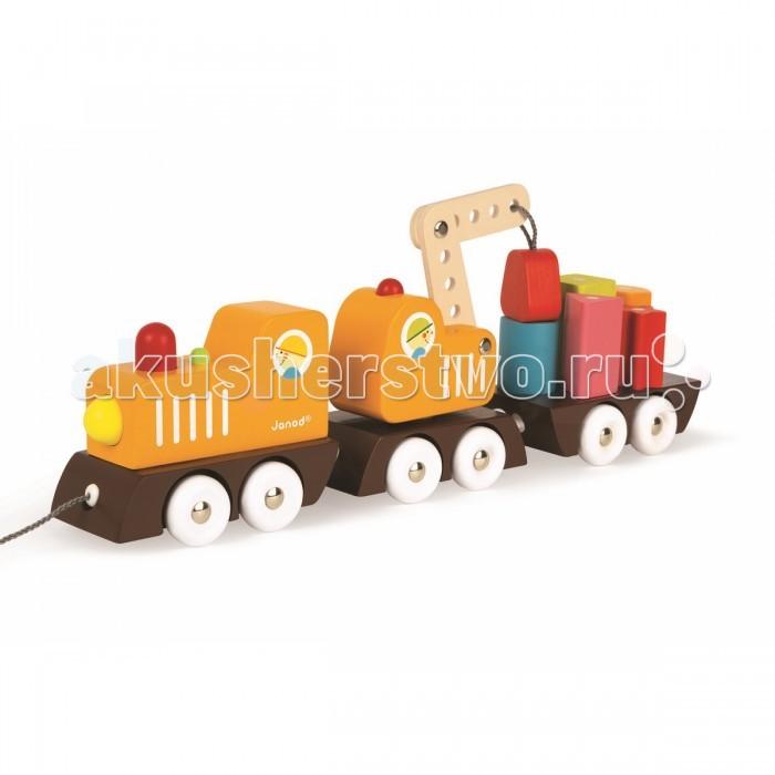 Каталка-игрушка Janod на веревочке Поезд с краном и цветными фигурами