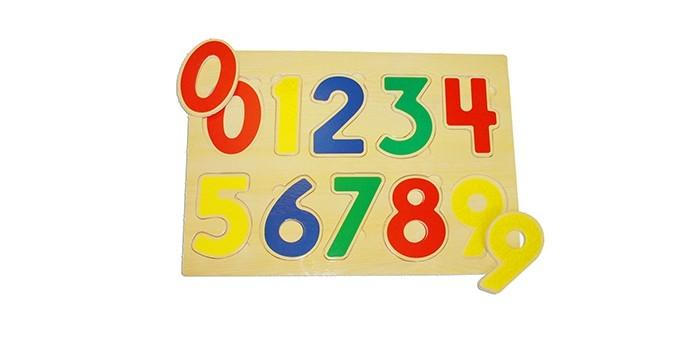 Деревянные игрушки Бумбарам Рамка-вкладыш Цифры бумбарам волшебные кристаллы синяя елочка
