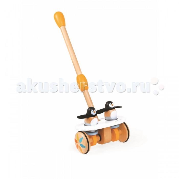 Каталка-игрушка Janod на палочке Веселые пингвины