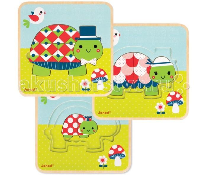 Janod Пазл 3-х уровневый ЧерепашкиПазл 3-х уровневый ЧерепашкиПазл 3-х уровневый Черепашки  Пазл-вкладыш Черепашки- это красочный и качественный деревянный  пазл-влкладыш , изобращающий семью черепашек.   Что такое треуровневый пазл и чем он хорош?  Пазл-вкладыш - это всем знакомое правило от простого к сложному. Такой пазл поможет Вашему малышу развить мелкую моторику и логическое мышление.   А так как материал самого изделия - дерево, это означает что пазл изготовлен из полностью натурального и экологически чистого материала, без малейшего вреда для здоровья Вашего ребенка. Сам пазл состоит из следующих уровеней: первый уровень- это маленькая черепашка (состоит из двух частей), второй уровень - это мама-черепашка (состоит из трех частей), третий уровень - это глава семейства, папа - черепашка. Всего в наборе 9 частей.<br>