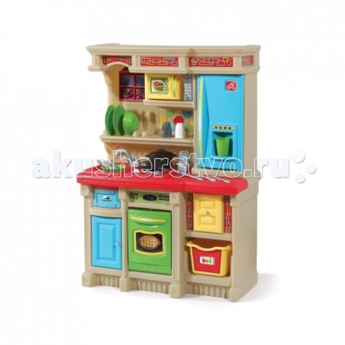 Step 2 Радуга игровая кухняРадуга игровая кухняВесёлые поварята.  Рецепт для удовольствия! Компактная кухня, которая впишется в домашнюю обстановку!   Духовка, микроволновая печь и холодильник, внесут оживление в детские игры;  Многочисленные выдвижные ящики и шкафчики;  Столешница выполнена под гранит;  Специальный ящик для столовых приборов;  Корзина для хранения фруктов и овощей;  Декоративный держатель для тарелок;  Требуется 4  батарей питания АА и 2 ААА  (в комплект поставки не входят);  В комплекте 20 шт. аксессуаров;  При сборке следуйте прилагаемой инструкции;<br>