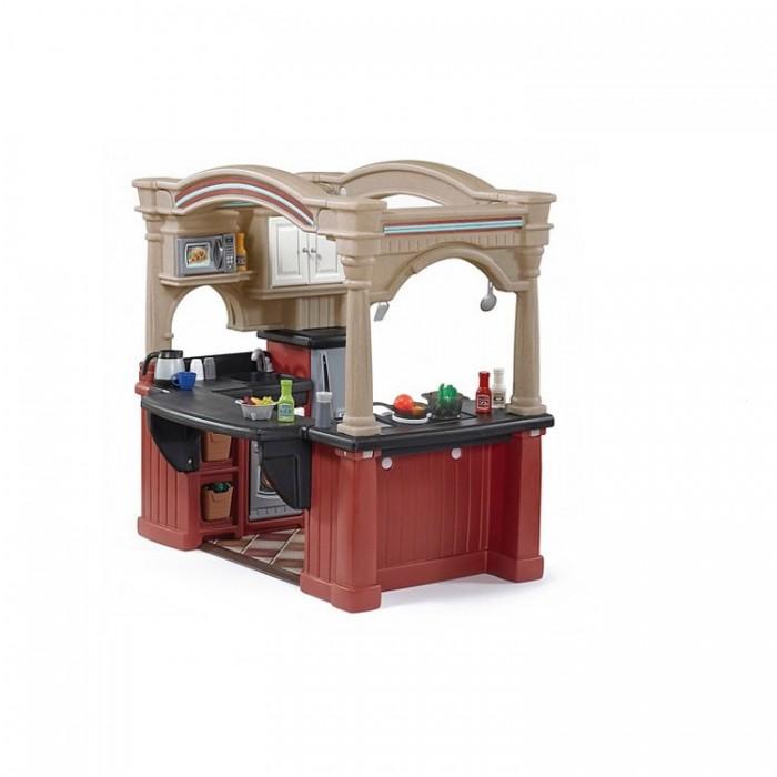 Step 2 Кухня Весёлые поварятаКухня Весёлые поварятаВесёлые поварята.  Кухня предоставляет большие возможности для ролевых игр детей, как на улице так и в помещении. Она будет привлекать внимание ребенка постоянно и прослужит долгие годы! Игровая кухня с тремя зонами.   Оригинальный дизайн – имитация настоящей «взрослой» кухни.   Плита с духовкой из «нержавеющей стали», внутри специальные сковорода и кастрюля с крышками, регулирующими температурные процессы жарки и варки. Микроволновая печь, холодильник, телефон вносят оживление в детские игры и составляет важную часть игровых аксессуаров.   Многочисленные выдвижные ящики и шкафчики с отделениями для приборов, с прочными ручками.  Большая раковина со смесителем.  «Дубовый» пол придаст реализма и комфорта в игре.  В комплекте 102 предмета кухонной утвари.  Прочная конструкция прослужит вашим детям долгие годы.  Изготовлена из высококачественного прочного пластика.  Для детей: от 2-х лет. Размер: 117 x 925 x 120см Размер упаковки 1: 75 х 62,2 х 58,4 см Размер упаковки 2: 91,4 х 72,4 х 42,5 см Вес: 27 кг<br>