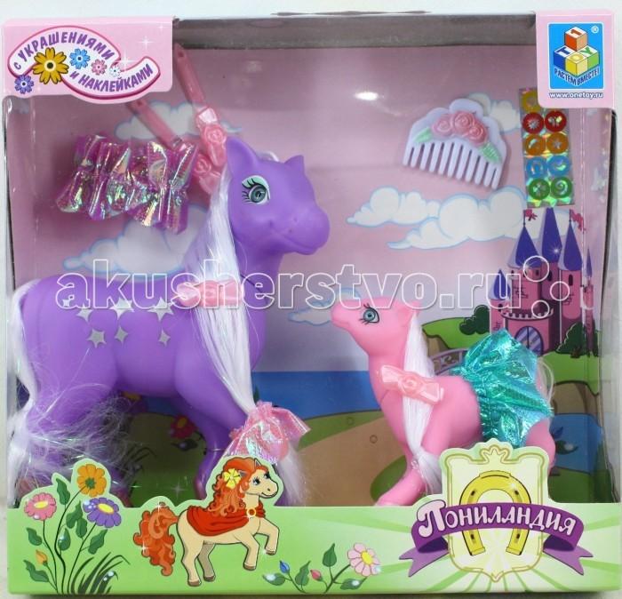 Игровые наборы 1 Toy Игровой набор Пониландия 2 пони с аксессуарами mymilly с 2 фасадами 90 см пони