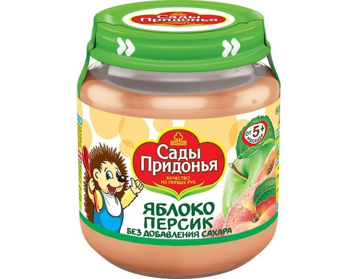 Пюре Сады Придонья Пюре Яблоко-персик с 5 мес., 120 г агуша фруктовое пюре я сам яблоко персик 90 г