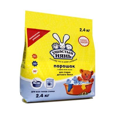 Детские моющие средства Ушастый нянь Стиральный порошок 2400 г