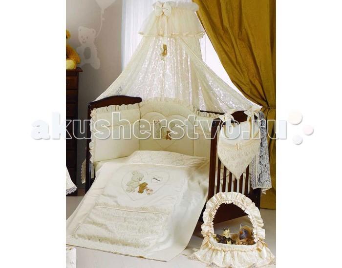 Комплект в кроватку Roman Baby Rubacuori (5 предметов)Rubacuori (5 предметов)Прекрасный комплект Roman Baby Rubacuori - это настоящее нежное объятие сна. Комплект из высококачественного сатина (100% хлопок), а оригинальная аппликация зайчика и мишки в сердечке на пододеяльнике и бампере, и кружево придают модели особую неповторимость!  Особенности: - ручная или машинная стирка при максимальной температуре 30°С - не отбеливать - гладить при средней температуре (до 150°С)  Материал: - 100% хлопок  В комплекте: - Одеяло - Пододеяльник - Наволочка 40 х 60 см - Подушка 40 х 60 см - Бортик на половину кроватки  Общие размеры: - на кроватку 125х65 см - одеяло 100x135 см - наволочка 40x60 см<br>
