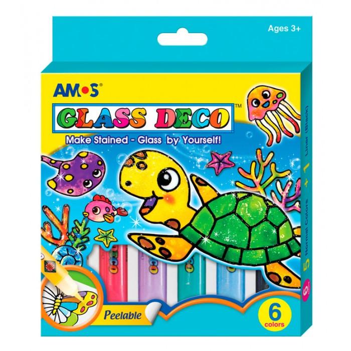 Наборы для творчества Amos Витражные краски Морской конек 6 цветов недорого