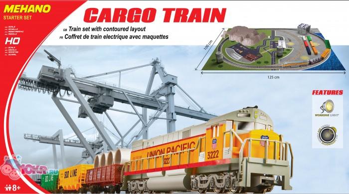 Mehano Cargo Train  с ландшафтомCargo Train  с ландшафтомЖелезная дорога «MEHANO» Cargo train с ландшафтом  Оставаясь одной из наиболее желанных игрушек для большинства мальчишек и даже взрослых коллекционеров, железная дорога с дистанционным управлением неподвластна влиянию моды и времени. Для сторонников технологических новинок создаются модели современных скоростных составов, а ценители истории могут выбрать подходящий комплект, в точности воссоздающий легендарные локомотивы и платформы прошлых лет.    Одним из таких уникальных составов стал Cargo Train (Товарный поезд) от известного производителя железных дорог «Mehano». Выполненная с уникальной архитектурной точностью и детализацией, модель состава Cargo Train относится к настоящим шедеврам индустрии моделирования.   Копия рабочего состава безукоризненно отображает все функциональные возможности и локомотива, и каждой из подвижных платформ, адаптированных для транспортации различных грузов. На пути товарного поезда встречается контрольно-пропускной пункт, башни, стоянка авто, деревья и зеленые лужайки, контейнера с грузами, ждущие отправки и, наконец, большой капитальный тоннель, проложенный сквозь горы и возвышенности.    Внимание! Вы можете создать дополнительное полукольцо. Вам потребуется 2 стрелки, комплект радиальных рельс и комплект коротких.    Характеристики:  - рельсы и колеса изготовлены из металла;  - размер собранного железнодорожного полотна: 100 х 125 см;  - масштаб 1:87;  - ширина колеи – 16,5 мм;  - наличие реального освещения;  - работает от электрической сети через адаптер – 220 вольт;  - возможность изменения скорости движения  - горит свет при движении;  - Полный привод! Ведущие обе оси. Передняя и задняя!   Состав набора:  - локомотив, 3 вагона;  - 3,35 метров железнодорожного полотна; 12 радиальных и 2 прямых рельс  - рельефный ландшафт с тоннелем, домами, автомобилями и т.д.;  - сетевой адаптер;  - пульт-контроллер;  - подробная инструкциями по сборке и управлению (с иллюстрациями).    К