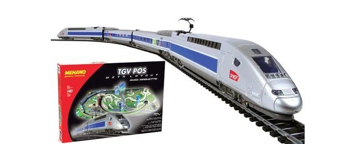 Mehano TGV POS  с ландшафтомTGV POS  с ландшафтомЖелезная дорога «MEHANO» TGV POS окружена интересным и разнообразным ландшафтом. Фрагменты ландшафта, построек, железнодорожного полотна, вагонов и локомотива имеют крайне высокую степень детализации, что делает игру еще более увлекательной.   На пути скоростного поезда встречаются низенькие загородные домики и взмывающее в небо бизнес-центры, живописные озера и пригорки, автодороги и зеленые лужайки, капитальные тоннели, проложенные сквозь горы и возвышенности.   Все эти объекты придают игре неповторимое ощущение реальности. Рельсы металлические, колеса паровозов из металла, Очень качественная игрушка.    Характеристики железной дороги «MEHANO» TGV POS:  • масштаб 1:87;  • работает от электрической сети через адаптер – 220 вольт;  • размер ландшафта в сборе: 155 х 100 см;  • размер овала железнодорожного полотна: 95,5 см;  • ширина колеи: 16,5 мм;  • размер упаковки: 79 x 55 x 9 см;  • все элементы комплекта совместимы с другими сборными моделями железной дороги «MEHANO», так что юный машинист сможет прокладывать различные маршруты, строить новые станции и придумывать неповторимый, свой собственный уникальный ландшафт.   В комплекте:  • 1 ведущий и 1 ведомый локомотив, 1 вагон первого и 1 второго класса;  • 2,25 метров железнодорожного полотна: 12 радиальных рельс;  • современный ландшафтный комплекс, в т.ч. здания, дороги и различные постройки;  • сетевой адаптер;  • пульт управления электропоездом;  • подробная инструкциями по сборке и управлению (с иллюстрациями).<br>