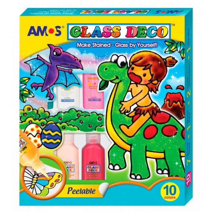 Наборы для творчества Amos Витражные краски Попугай 10 цветов витражные наклейки на окна томск