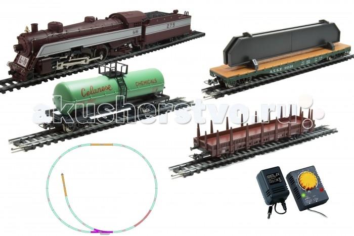 Mehano Prestige паровоз  L&amp;N (4-6-2) с 3-мя вагонами (коричневый)Prestige паровоз  L&amp;N (4-6-2) с 3-мя вагонами (коричневый)Железная дорога «MEHANO» - миниатюрная копия грузового состава. Мельчайшие детали паровозов, тепловозов и грузовых вагонов, каждая рельефная линия экстерьера тщательно проработаны, благодаря чему состав выглядит более чем реально. Можно вообразить, как этот состав загрузили где-то на миниатюрном перевалочном пункте, а затем он аккуратно вез свой груз по длинным разветвленным путям…    Воплотить воображаемое в действительность очень легко: при желании железнодорожное полотно можно увеличить и добавить элементы ландшафта, ведь все элементы железных дорог «MEHANO» совместимы друг с другом.    При желании, можно докупить стрелку/ перекресток и состав может двигаться на другие участки ж/д дороги.    Рельсы металлические, колеса паровозов и вагонов из металла, Очень качественная игрушка.    Характеристики железной дороги «MEHANO»:     • масштаб 1:87;    • работает от электрической сети через адаптер – 220 вольт;    • возможность изменения скорости движения;    • размер собранного железнодорожного полотна: 120 х 95 см;    • ширина колеи: 16,5 мм;    • все элементы комплекта совместимы с другими сборными моделями железной дороги «MEHANO», так что юный машинист сможет прокладывать различные маршруты, строить новые станции и придумывать неповторимый, свой собственный уникальный ландшафт.    В комплекте:    • 1 паровоз/тепловоз со светом  (Паровоз с тендером)  • 3 грузовых вагона различной конфигурации;  • 13 радиальных рельс,   • 5 прямых рельс,   • 1 стрелка  1 радиальных рельс/контактный    • 20 клипс/соединителей,    • сетевой адаптер;    • пульт-контроллер;    • подробная инструкциями по сборке и управлению (с иллюстрациями). <br>