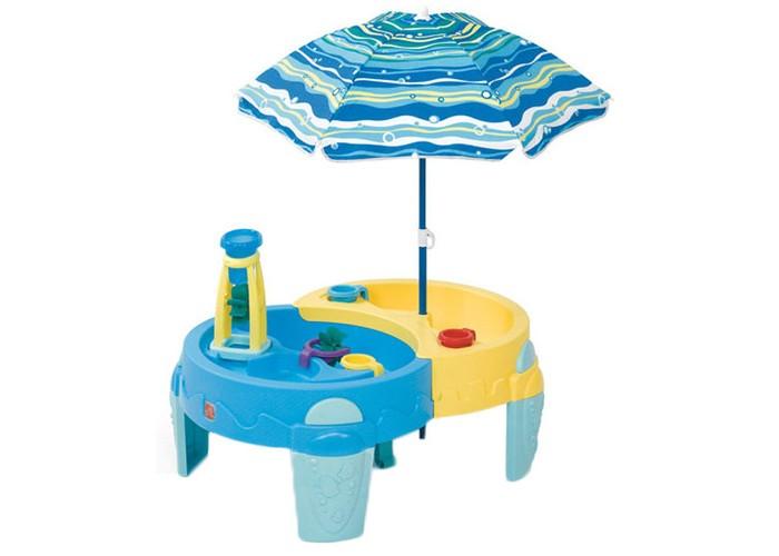 Step 2 Столик-песочница Оазис для игр с песком и водойСтолик-песочница Оазис для игр с песком и водойСтолик для игр с песком и водой - подходит для игр целой компанией. Поднятая над землей игровая поверхность позволяет меньше пачкать одежду Ваших детей во время игр с песком и водой.  Оазис столик для игр с песком и водой NEW предназначен для детей от 1 года. Две зоны игры: песок и вода. Мельницы, которые приходят в движение при помощи воды. Зонтик 101,6 см. защитит детей от прямых солнычных лучей во время игры. В комплекте 5 аксессуаров. Вмещает 18 кг песка и 11,4 литров воды. При сборке следуйте прилагаемой инструкции. Товар сертифицирован. Габариты и вес Габариты (ДхШхВ, см): 117x80x71 Габариты коробки (ДхШхВ, см): 75x23x72 Вес (кг): 8,6<br>