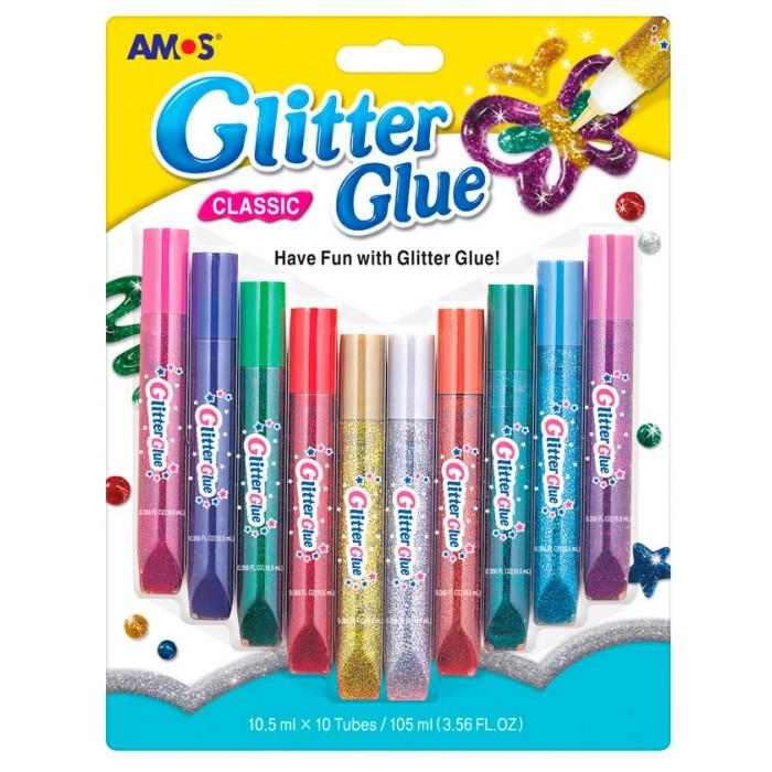 Краски Amos Клей оформительский Классический 10 цветов в блистере клей оформительский классический с блестками 5 цветов 20637