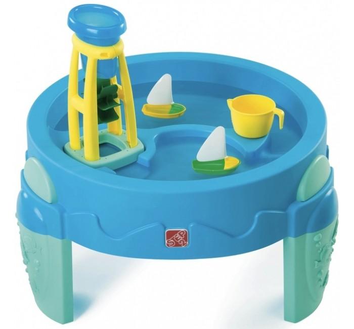 Step 2 Столик с водяной мельницейСтолик с водяной мельницейСтолик для игры с водой Водяная мельница Step 2 Вода, льющаяся сквозь тоннель крутит колесо, которое разливает воду в верхнюю и нижнюю гавань.  Две различные секции работают как каналы, рвы и озера.  Игровая зона поднята на уровень рук ребенка, что создает комфортные условия игры!  В комплект входят: чаша, 2 лодки, 1 башня с водяным колесом.  Вмещает 15 литров воды.  Сделан в США из американских и импортированных сборных деталей.  При сборке требуется минимальное участие взрослых.  Размер: 70.9 х 80 х 80 см<br>