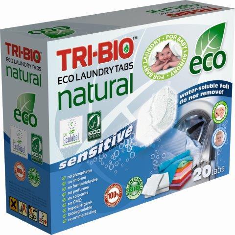 Бытовая химия Tri-Bio Натуральные Эко таблетки для стирки 20 таб. биосредство для мытья полов tri bio 940 мл