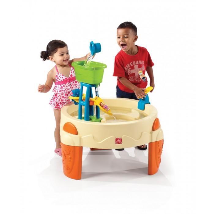 Step 2 Столик Водный парк для игр с водойСтолик Водный парк для игр с водойВодный парк для забавных игр малышей!  Особенности:  - вращающиеся водяные колеса; - вышка- катапульта для пловцов (входят в комплект поставки); - приподнятая конструкция защитит детей от загрязнений; - в комплекте 7 аксессуаров; - пробка для слива воды; - при сборке следуйте прилагаемой инструкции; - прочная конструкция прослужит долгие годы; - предназначен только для семейного (домашнего) использования  Размеры:  Высота: 78.7 см,  Длина: 80 см,  Ширина: 80 см Вес: 6 кг Объем: 0.13 м3 Размеры коробки: 76х23х76 см Возраст: от 1,5 лет<br>