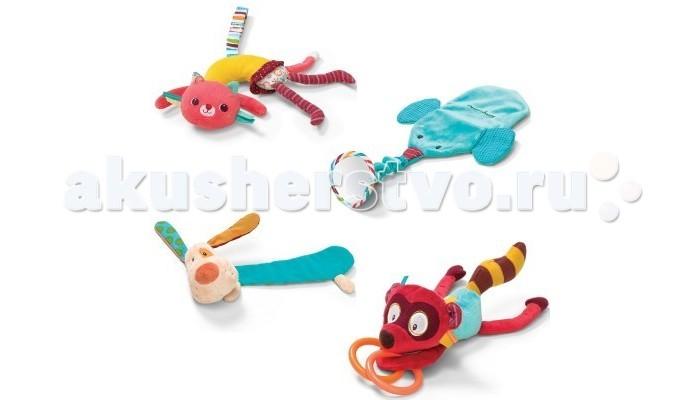Подвесная игрушка Lilliputiens Набор подвешивающихся игрушек-погремушек Цирк ШапитоНабор подвешивающихся игрушек-погремушек Цирк ШапитоЦирк Шапито набор подвешивающихся игрушек-погремушек  Джеф, Джордж, Коллет и Альберт крепятся на манеж, кроватку или автокресло и развлекает малышей.   Они дополнены большим количеством элементов, для сенсорного развития младенца.   Внимание! В комплекте только игрушки, деревянная основа в комплект не входит.<br>