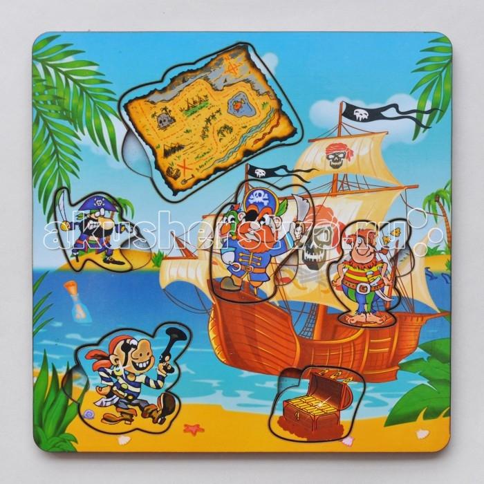 Деревянные игрушки Фабрика Мастер игрушек Рамка-вкладка Пираты с картой игрушка развивающая игрушка рамка вкладка паравозик ig0119