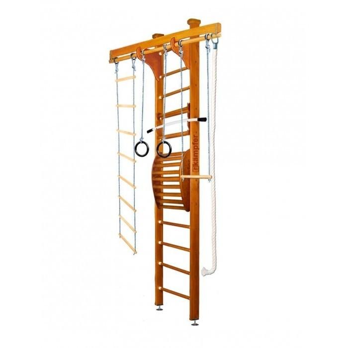 Kampfer Домашний спортивный комплекс Wooden Ladder Maxi CeilingДомашний спортивный комплекс Wooden Ladder Maxi CeilingKampfer Домашний спортивный комплекс Wooden Ladder Maxi Ceiling для улучшения осанки.  Правильная осанка - сделает Ваше тело красивым, формы фигуры приобретут гармонию походка станет привлекательной, обретет легкость и грациозность - достойные восхищения.  Особенности: Используются стойки из сосны  Используются ступени из березы Используется итальянское покрытие Coatings Italia S.p.a. Используется компактная разборная конструкция, которая позволяет перевозить его даже в легковом автомобиле  Vодель Kampfer Wooden Ladder Maxi Ceiling включает в себя тренажер для спины Kampfer Posture (Wall). Тренажерный комплекс Kampfer Posture предназначен для занятий физическими упражнениями, позволяющими расслаблять, разминать и массировать мышцы спины в домашних условиях. Предназначен для улучшения осанки, поэтому в первую очередь необходимо привлечь к занятиям подростков, и даже маленьких детей. Им неприменно понравиться занятия на тренажере под Вашим руководством и присмотром. При помощи различных упражнений на нем Вы сможете укрепить мышцы спины и многие другие группы мышц. Регулярные занятия очень полезны для Вашего здоровья.  Подходит для детей в возрасте от 4 лет и рекомендован для установки в домашних условиях и в детских учреждениях. Конструкция была выполнена из натурального дерева, все края деталей немного скруглены, места креплений болтов закрыты декоративными пластиковыми заглушками обеспечивая большую безопасность для ребенка. Крепление: Турник и тренажер для спины могут устанавливаться на деревянную шведскую стенку на нужной высоте. Конструкция выполнена из натурального дерева, все края деталей немного скруглены обеспечивая большую безопасность для ребенка. Крепление враспор между потолком и полом удобно тем что подходит для любых стен, и комплекс можно передвигать с места на место. Но потолок не должен быть из хрупких материалов, таких как гипсокарто