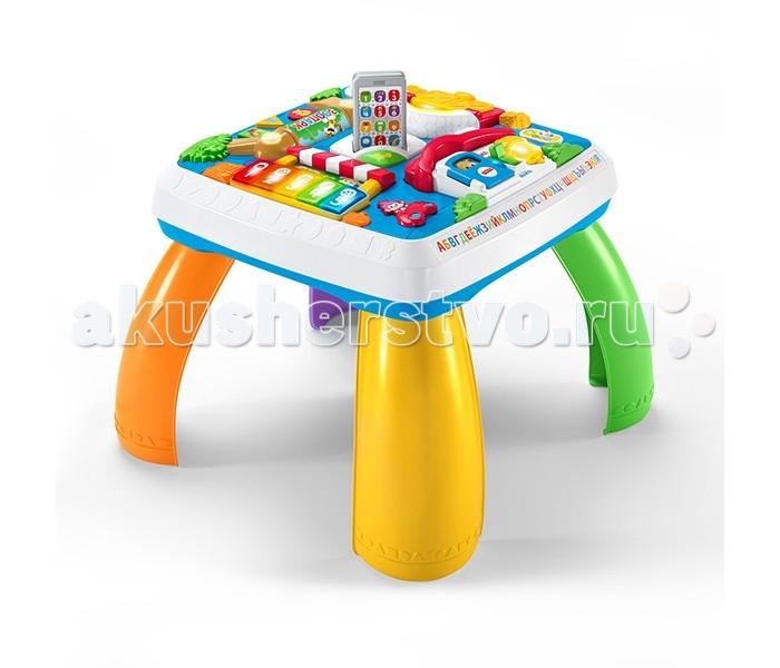 Игровой центр Fisher Price Развивающий столик для малышаРазвивающий столик для малышаFisher-Price Развивающий столик для малыша Многофункциональная развивающая игрушка для малыша из серии «Смейся и учись» станет отличным помощником мамам и папам в обучении и раннем развитии ребенка. Игрушка сборная, её можно смонтировать как столик, а можно, сняв ножки, использовать как игровую поверхность, если малыш еще не научился ходить.   Поверхность стола разделена на несколько обучающих игровых зон – пианино, телефон, ноутбук, книга. Все элементы оснащены световыми и звуковыми эффектами.  Батарейки, необходимые для работы игрушки, входят в комплект набора (3хАА, «пальчиковые»). В случае необходимости их можно заменить на новые.  Столик крепкий и устойчивый, его можно использовать в качестве опоры для малыша, который только учится вставать на ножки, не опасаясь, что он опрокинется. Игрушка легко собирается и разбирается, изготовлена из высококачественного, безопасного для здоровья пластика.<br>