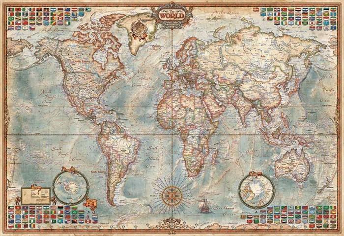 Пазлы Educa Пазл Политическая карта мира 1000 элементов пазлы magic pazle объемный 3d пазл эйфелева башня 78x38x35 см