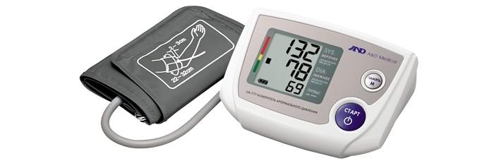 A&amp;D Тонометр автоматический UA-777 LТонометр автоматический UA-777 LA&D Тонометр UA-777 L автоматический.  Особенности: Тонометр предназначен для измерения и контроля артериального кровяного давления и пульса в плечевой артерии у взрослых.  При помощи автоматического прибора для измерения давления крови вы сможете быстро и без посторонней помощи в бытовых условиях провести измерение давления и пульса и сохранить данные, а так же вывести ранее сохраненные данные и средние значения.  Манжета SlimFit 32-45 см Память на 90 измерений Индикатор аритмии Шкала ВОЗ Сетевой адаптер Расчет среднего давления Трехстрочный дисплей<br>