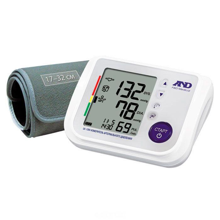 A&amp;D Тонометр автоматический UA-1300Тонометр автоматический UA-1300A&D Тонометр UA-1300 автоматический.  Особенности: Тонометр предназначен для измерения и контроля артериального кровяного давления и пульса в плечевой артерии у взрослых.  При помощи автоматического прибора для измерения давления крови вы сможете быстро и без посторонней помощи в бытовых условиях провести измерение давления и пульса и сохранить данные, а так же вывести ранее сохраненные данные и средние значения.  Манжета Opti Cuff 17-32 см Говорящий помощник Индикатор аритмии Сетевой адаптер Гарантия 10 лет Расчет среднего давления Индикатор движения во время измерения Память на 90 измерений Календарь и часы Большой трехстрочный дисплей Индикатор положения манжеты<br>