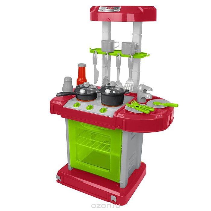 HTI Портативная кухня SmartПортативная кухня SmartHTI Портативная кухня Smart 1680703.00  Если ваш ребенок любит помогать маме на кухне, играть с посудой, варить и жарить, но вам приходится ограничивать его в игре с бьющимися предметами кухонной утвари, то эта детская кухня создана специально для юного поваренка.   Smart Портативная кухня - многофункциональная кухня со звуковыми и световыми эффектами. Она состоит из варочной поверхности, духовки (духовка не открывается), раковины и вытяжки. В набор входят аксессуары для игры: сковорода, кастрюля, две тарелки, две ложки, два ножа, две вилки, лопатка, две чашки, пицца и курица.  Реалистичные звуки сделают игру еще интереснее. Стоит повернуть ручку, и конфорка загорается, как у настоящей плиты. Поставьте на огонь сковородку и услышите шипение масла. А вот забулькал суп. Затикал таймер. Все звуки, как настоящие!  Кухня складывается в компактный чемоданчик с ручкой для переноски.  С такой кухней ваш ребенок сможет устроить для своих игрушек удивительный обед. Порадуйте его таким замечательным подарком!<br>