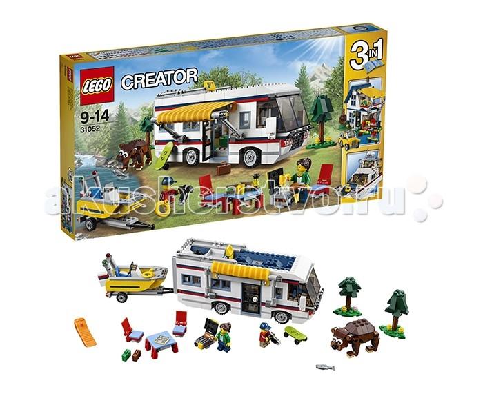 Конструктор Lego Creator 31052 Лего Криэйтор Кемпинг 3 в 1Creator 31052 Лего Криэйтор Кемпинг 3 в 1Lego Creator 31052 Лего Криэйтор Кемпинг 3 в 1 729 деталей  Большой яркий набор, состоящий из 792 деталей, посвященный тематике летнего отдыха. Сет «Кемпинг» представляет из себя конструктор 3 в 1, то есть из одного комплекта деталей можно собрать три разных модели. Основная модель этого набора – лагерь автотуристов. Альтернативные модели – летний дом и яхта. Набор включает две симпатичные минифигурки.  В большом просторном автодоме найдется все, что необходимо для приятной поездки и проживания. Внутреннее убранство дома на колесах включает кухню, туалет, место для отдыха с кроватью, диваном и даже телевизором. Одним словом, в нем есть все, чтобы путешествовать и отдыхать с полным комфортом. Один из блоков трейлера выдвигается наружу, увеличивая площадь комнаты. Прибыв на место кемпинга, наши герои могут оборудовать место для пикника – установить складной столик и стулья, чтобы насладиться теплым деньком в ожидании барбекю, которое можно приготовить здесь же, на мангале. А после легкого перекуса, покататься на небольшой моторной лодке и изучить окрестности. Также из деталей набора собирается совершенно очаровательный бурый мишка, которого можно сфотографировать и угостить вкусной рыбкой.  Собрав эту модель, Вы получите: Автодом Комплект складной мебели и мангал для пикника Прицеп с лодкой Фигурку медведя Две ёлочки Множество различных игровых аксессуаров Возможность перестроить кемпинг в летний дом и внедорожник или крутую яхту.  Количество деталей : 729 Рекомендуемый возраст: 9-14 лет<br>