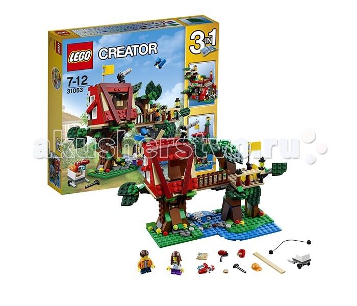 Конструктор Lego Creator 31053 Лего Криэйтор Домик на дереве 3 в 1Creator 31053 Лего Криэйтор Домик на дереве 3 в 1Lego Creator 31053 Лего Криэйтор Домик на дереве 3 в 1 387 деталей  Набор Lego Creator 31053 Лего Криэйтор Домик на дереве, состоящий из 387 деталей и включающий 2 минифигурки.  Как и все конструкторы серии Криэйтор, этот сет представляет из себя набор «3 в 1», то есть Вы можете собрать три различных модели из одного комплекта деталей: Домик на дереве Деревянный форт Клубный домик.  Собственное укрытие в кроне деревьев – мечта каждого ребенка – ведь это не просто игровая площадка, а целый мир, полный секретов, тайн и волшебства, кусочек личного пространства, позволяющий без труда отправиться в захватывающее путешествие по закоулкам собственной фантазии и воображения. В основной модели конструктора нам предстоит построить настоящий дом на дереве вместе с нашими героями, мальчиком и девочкой из города Лего. Для этого у них есть все необходимое – два прочных дерева, раскинувших свои ветви над весело журчащим ручьем, доски, молоток, кисти, ведро краски, а также механизм для подъема досок на строительную площадку.  Домик, который нам предстоит построить, базируется на двух мощных стволах деревьев. На одном из них располагается сама постройка, а на другом – смотровая площадка. Соединяются между собой они при помощи мостика с балюстрадой. Если привести балюстраду в вертикальное положение, она превратиться в лестницу, по которой наши герои могут подняться в своё укрытие. В стволе дерева под домиков скрывается небольшой тайник. На крыше домика, куда можно подняться по еще одной лесенке, находящейся с тыльной стороны сооружения, установлена подзорная труба.  Итак, собрав основную модель этого набора, мы получим: Укрытие, базирующееся на двух стволах деревьев с домиком, мостиком и смотровой площадкой Множество различных игровых аксессуаров – строительные инструменты, ведро краски, тачку, подъемное устройство, защитную каску, флаг, карту местности, печеньку для лёг