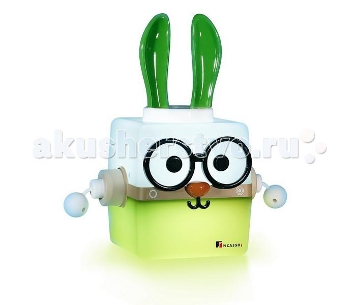 Picassoi Ночник IRO КроликНочник IRO КроликСветильник IRO, персонаж Кролик от южнокорейской компании «Picassoi», создан учитывая пожелания детей.   IRO — это комплект, в который входит сам светильник, чаша, и аксессуар образа животного. Поместите в чашу овощ, фрукт или другие яркие предметы и предложите малышу по цвету этого предмета подобрать цвет в нижней части светильника.   Разнообразие образов светильника и возможность их изменения в процессе игры повышают занимательность светильника IRO и развивает творческие способности ребенка.   Увлекательная игра с цветом Эмоциональное и интеллектуальное развитие ребенка Разнообразие образов Изменение цвета - регулятор синего, красного, зеленого цветов Режим спальной лампы Несомненное качество  IRO просто светится дружелюбием!   Размер светильника IRO без аксессуаров – 25 х 25 х 25 см. В комплекте: светильник IRO Picassoi, акссесуар Кролик, EQ-чаша, очки, адаптер<br>