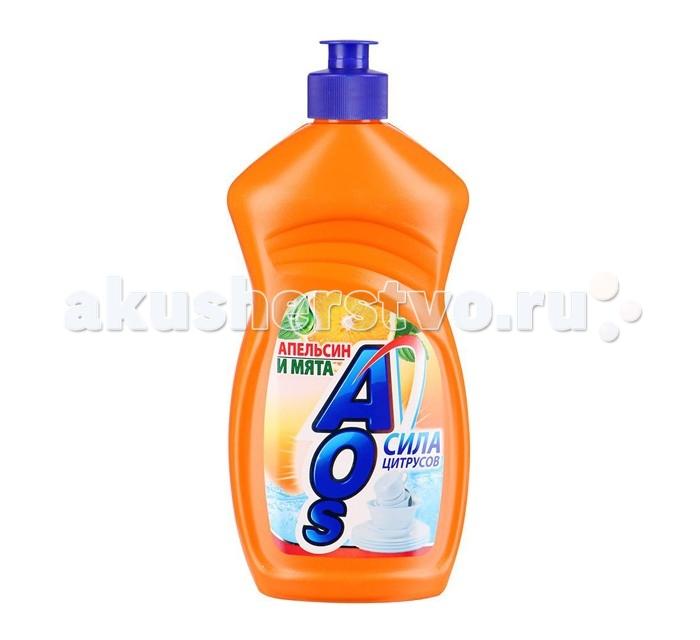 Бытовая химия AOS Средство для мытья посуды Апельсин и мята 500 г бытовая химия бирюса средство для мытья окон и зеркал 500 мл