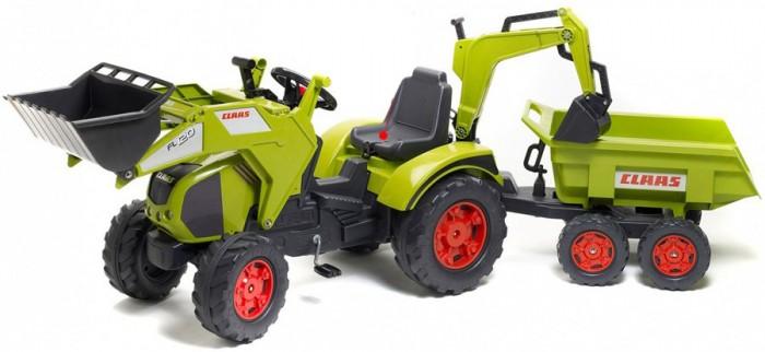 Детский транспорт , Педальные машины Falk Трактор-экскаватор педальный с прицепом 225 см арт: 176696 -  Педальные машины