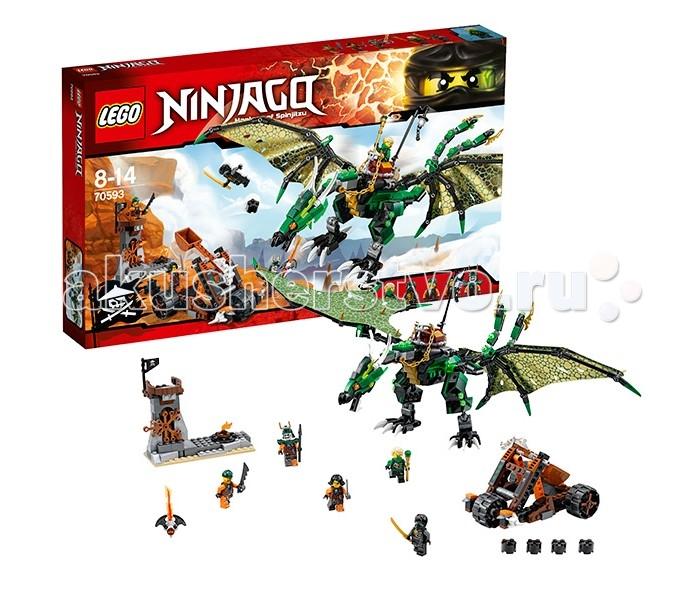 Конструктор Lego Ninjago 70593 Лего Ниндзяго Зеленый ДраконNinjago 70593 Лего Ниндзяго Зеленый ДраконLego Ninjago 70593 Лего Ниндзяго Зеленый Дракон 567 деталей  Ллойд должен сразиться с Дублоном и его экипажем Воздушных Пиратов, чтобы вернуть джинн-клинок. В битве ему помогает Коул-призрак и, конечно же, огромный дракон Ллойда!  Орудие пиратов - трехколесная катапульта, выполненная из коричневых, черных и оранжевых деталей. Также, катапульта украшена деталью в виде рогатого черепа. Укрепление пиратов состоит из костра и башни, вход в которую закрыт отодвигающейся веткой.  Дракон Ллойда выглядит очень здорово - он собирается из деталей различных оттенков зеленого цвета, а его крылья выполнены из качественного материала, золотого с одной стороны и темно-зеленого с другой. Дракон очень подвижный - у него двигается голова, шея, хвост, крылья, когти на ногах, сгибаются колени. Голова дракона детализирована, пасть открывается и закрывается. Хвост дракона раздвоенный, на его концах закреплены лезвия и стреляющие шутеры.  На спине дракона закреплено седло, в котором и сидит Ллойд. Ниндзя управляет драконом с помощью поводьев, сделанных из массивной золотой цепи. За седлом находится столбик с фонарем.  Основные функции и состав набора: 5 мини-фигурок: Ллойд в пиратском обмундировании, Призрачный Коул в пиратском обмундировании, Букко, Сирен и Батл Дублон Оружие: золотой меч Коула, меч небесных пиратов, обычный меч, копье и Джинн-клинок Дракон очень подвижный; хвост состоит из множества шарнирных соединений Тканевые крылья с двусторонней окраской На хвосте закреплены стреляющие шутеры В комплекте - пиратская катапульта и укрепление с наблюдательной вышкой  Количество деталей: 567 Возраст: 8-14 лет<br>