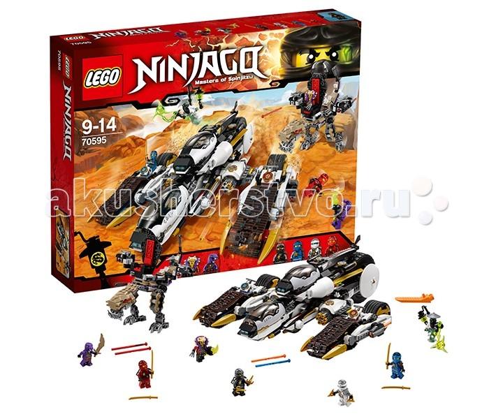 Конструктор Lego Ninjago 70595 Лего Ниндзяго Внедорожник с суперсистемой маскировкиNinjago 70595 Лего Ниндзяго Внедорожник с суперсистемой маскировкиLego Ninjago 70595 Лего Ниндзяго Внедорожник с суперсистемой маскировки 1093 деталей  По сюжету этого набора, ниндзя предстоит сразиться с тремя злодеями - Мастером ченом, Мастером Янгом и Айзораем. Эта битва не будет простой!  Ниндзя усовершенствовали сверхзвуковой внедорожник, снабдив его супер-системой маскировки. Внешний вид получился очень стильный - внедорожник собирается из белых и черных деталей с золотыми элементами. Обтекаемая форма кабин пилотов и корпуса внедорожника выглядит здорово и футуристично. Внедорожник обладает большой проходимостью - с двух сторон расположены большие гусеницы с широкими колесами в задней части. При желании, их можно отсоединить - тогда получится 2 легких и быстрых скутера. Верхняя кабина тоже отделяется, превращаясь в небольшой, но быстрый джет Зейна. В задней части внедорожника есть большое колесо, которое увеличивает устойчивость во время быстрой езды по неровной поверхности.  Внедорожник с суперсистемой маскировки достаточно большой. Если убрать заднюю кабину пилота, то переднюю можно приподнять и поставить на ее место. Одновременно вперед встанет скрытое под корпусом колесо. Таким образом, внедорожник сможет ехать, даже если отсоединить скутеры Кая и Джея от корпуса.  Вооружение Внедорожника. На скутерах, исполняющих роль гусениц при закреплении на корпус Внедорожника, установлены пружинные пушки. В передней части корпуса Внедорожника расположены 2 скорострельных шутера. В задней части машины есть багажник с дополнительными боеприпасами (помещается 12 маленьких снарядов).  Джет Зейна. Закрепленный на корпусе Внедорожника, представляет собой вторую кабину пилота. У джета есть лыжи, как у вертолета - он устойчиво стоит на ровной поверхности. В кабине предусмотрено место для двух минифигурок. Здесь же находятся рычаги и панель управления. Крылья-лезвия можно раскрывать - это проис