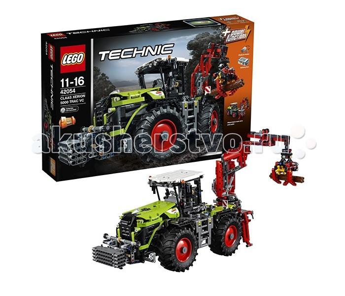 Конструктор Lego Technic 42054 Лего Техник Claas Xerion 5000 Trac VCTechnic 42054 Лего Техник Claas Xerion 5000 Trac VCLego Technic 42054 Лего Техник Claas Xerion 5000 Trac VC 1977 деталей  Тракторы Claas Xerion, несмотря на свои громоздкие размеры, отличаются удобным управлением и повышенной маневренностью, за счет системы контроля всех четырех колес, комфортабельностью кабины и большим количеством различного навесного оборудования.  Дизайнеры компании Лего постарались максимально точно перенести все эти преимущества на модель, и им это удалось. При постройке используются детали серого и черного цветов, а также нетипичные для этой серии салатовые и красные.  Основная модель представляет из себя трактор с поворачивающейся кабиной и стрелой для подъема и транспортировки срубленных деревьев на лесозаготовках. Альтернативная модель — трактор с овалом для чистки снега. Также преимуществом набора является наличие батарейного блока и мотора размера M, который отвечает за поворот и работу стрелы подъемного механизма.  Количество деталей: 1977 Возраст: 11-16 лет<br>