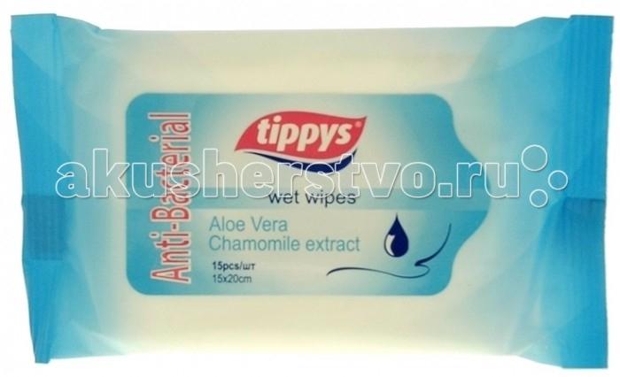 Салфетки Tippys Влажные салфетки антибактериальные 15 шт. smile салфетки влажные special 15 шт антибактериальные с подорожником