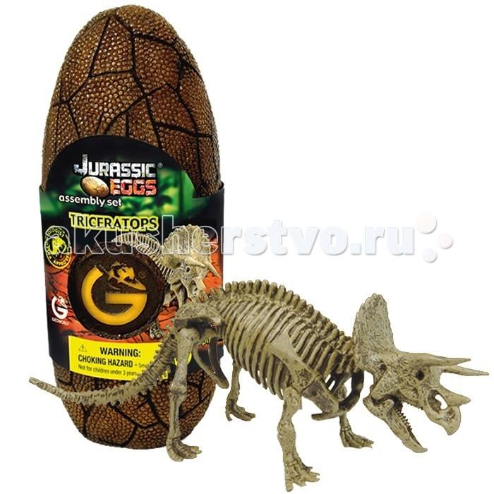 Конструкторы Geoworld Сборная модель динозавра в яйце Jurassic eggs - Трицератопс 12 деталей конструкторы eastcolight сборная модель science time скелет трицератопса 14 элементов