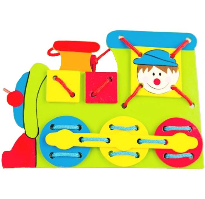 Деревянные игрушки Mapacha Шнуровка Паровоз